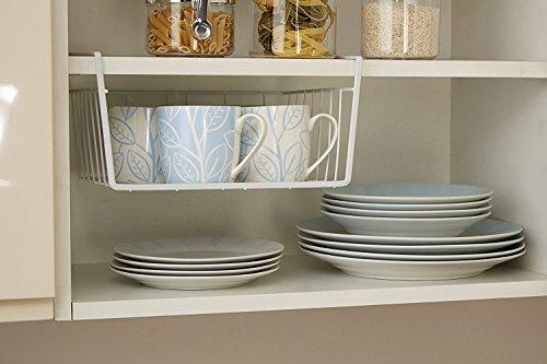 Bianco sotto mensola tavolo cesto portaoggetti da cucina rete metallica rack organizer