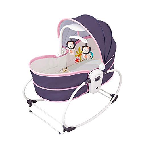 SHARESUN 3-in-1 Rocker Napper, Newborn Baby Bouncer mit Recline-, Basket- und Curve-Schaukelständer, Musik und Markise, ab Geburt geeignet, ab 0 Monate,Pink