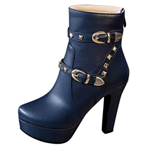 Stiefel - Hansee Damen Stiefel Schlupfstiefel kurz Knöchelstiefel runde Zehe Plateauschuhe Nieten Leder Vintage Schuhe High Heel Chunky Schuhe für Mädchen Gr. 62, blau