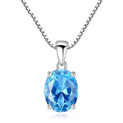 XMDNYE Sky Blue Topas Stein Anhänger 2,3 Karat Oval Form Solitaire Natürlicher Topas 925 Sterling Silber Kette Halskette für Frauen (Blue Topas-anhänger-halskette)