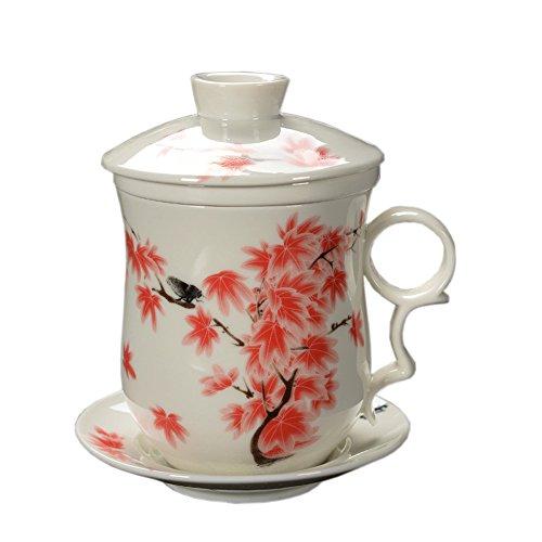 4 pièces Dehua tasse de thé céramique avec filtre, soucoupe, et le couvercle rouge et blanc et des feuilles d'érable motif
