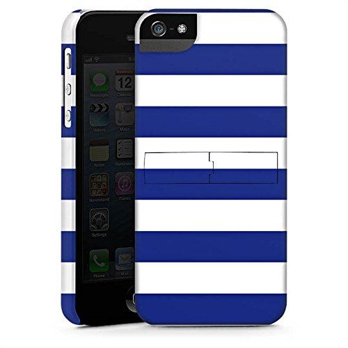 Apple iPhone 5s Housse Étui Protection Coque Marine Blanc bleu Bandes CasStandup blanc