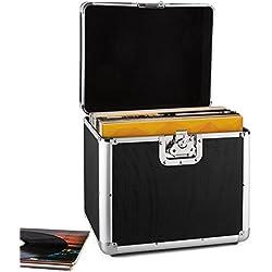 Resident DJ Zeitkapsel caja de aluminio para vinilos (capacidad de 70 LP's, cierre de mariposa, bordes reforzados, asa ergonómico, peso vacío de 2,4 kg) - negro