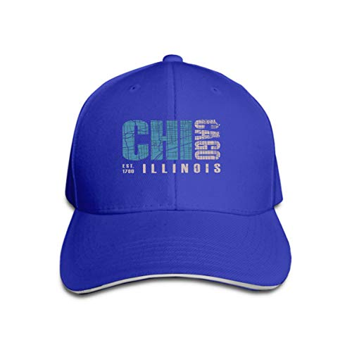 Baseball Caps Trucker Caps Bones Hip Hop Hats for Men Women Chicago Illinois Print Design Stamp Label Typography