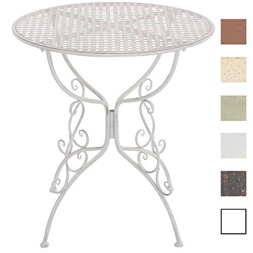 CLP Eisentisch Amanda im Jugendstil I Robuster Gartentisch mit kunstvoll verzierten Tischbeinen I erhältlich Antik Weiß
