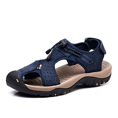 Sandalias Deportivas Hombres Verano Exterior Senderismo Zapatos Trekking Casual Zapatos de Montaña Cuero Sandalias de Playa,Azul (45/46 EU, Bleu 1)