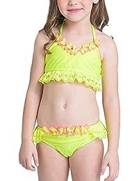 Flounce Bikini Halter Surf Filles Design Maillot De Bain Deux Pièces Jaunes