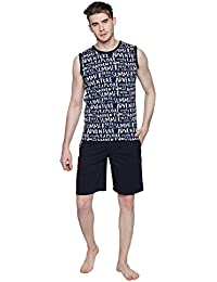 Valentine Night Suit For Men - Navy Blue And Black Printed Night Wear - Stylish Tshirt And Shorts Set For Men...