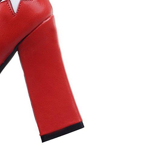 AllhqFashion Damen Schnüren Pu Leder Hoher Absatz Rund Zehe Stiefel Rot