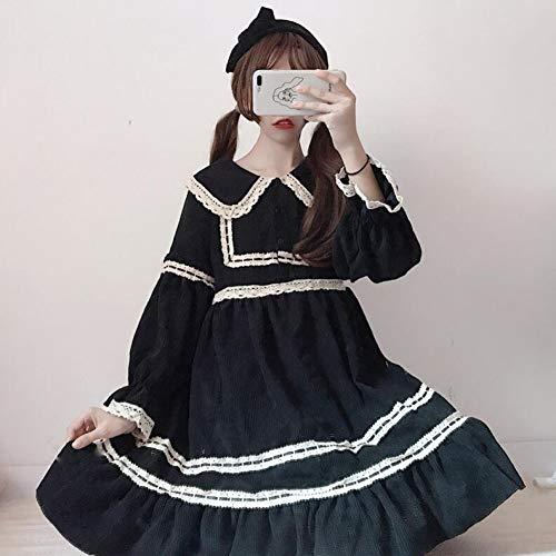 Kind Kostüm Prinzessin Tee Party - QAQBDBCKL Cord Süße Lolita Kleid Vintage Puppe Spitze Gothic Kleid Kawaii Mädchen Viktorianischen Kleid Gothic Lolita Op Tee Party Cos Loli