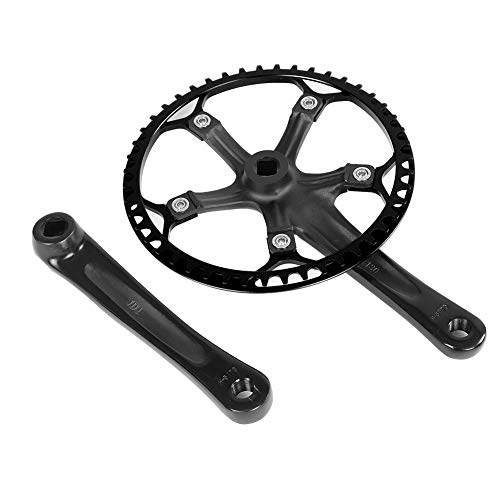 Alomejor Guarnitura Bici, 170mm Corona Anello a Catena Set per 45T 47T Bicicletta(47T-Nero)