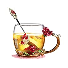 evecase Enamels Butterfly Flower Clear Lead-Free Glass Coffee Mugs Tea Cup with Steel Spoon Set, Personalised Gifts for Women Wife Mum Girl Teacher Friends Birthday Mothers Valentines Day (Rose)
