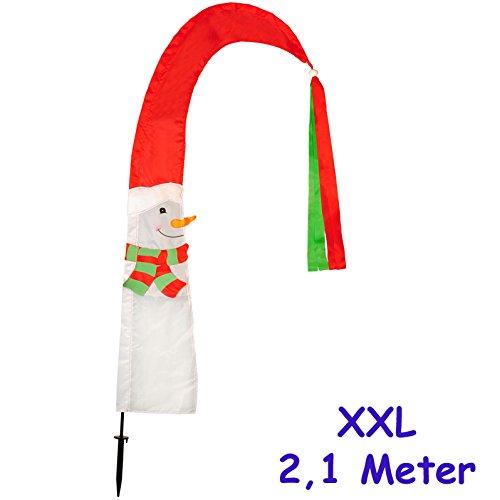 alles-meine.de GmbH 3 Stück _ große XL - 2,1 m ! - Windfahnen / Balifahnen -  Weihnachten / Schneemann  - mit Fahnenstange - UV-beständig & wetterfest - Windrichtungsanzeige - ..