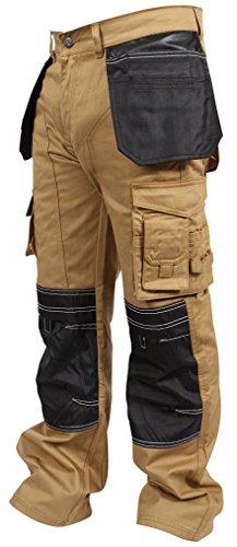 Newfacelook Herren Arbeitshose cargohose Hose Knie Taschen Khaki W36-L32 (Cargo Multi Pocket Jean)