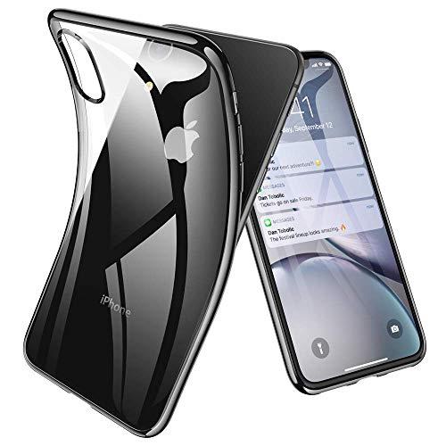 Joyguard für iPhone XR Hülle, iPhone XR Handyhülle mit Panzerglas Leicht TPU Durchsichtig Weiche Silikon Plating Überzug Bumper Schutz - Schwarz - Gehäuse 5 Rückseite Iphone