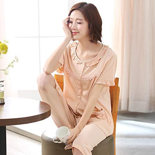FERZA Home Sommer Damen Pyjamas Kurzarm-Cropped-Hosen Modal dünne Abschnitt mittleren Alters Menschen Anzug lose Hause Service Großhandel (Color : Light-Pink, Size : XXL) -