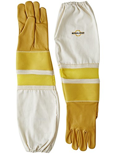 Natural Apiary® BEEKEEPING GLOVES - COWHIDE - VENTED SLEEVES & STING PROOF CUFFS - SMALL - Durable Leather - Extra Long Thick Sleeves 1