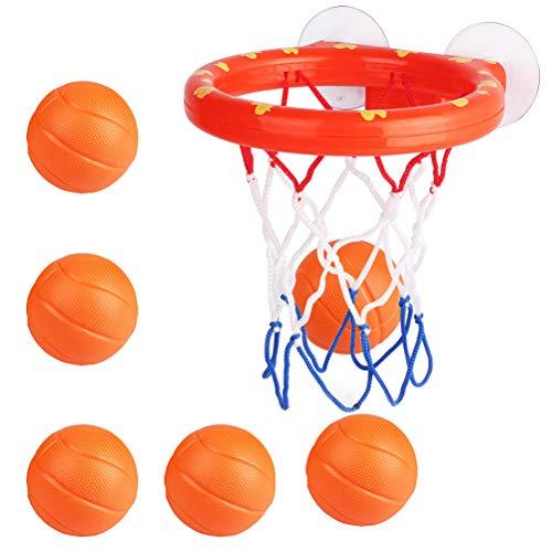 Toyvian 7 Stücke Mini Basketballkorb mit Ball und Saugnapf Basketballnetz Tür Büro Zimmer Basketball Spielzeug für Kinder Erwachsene Indoor Baby Badespielzeug