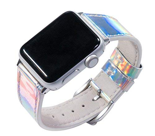 YOSWAN Shiny Band Women's Hologram Holographic PU Leather Strap for iWatch Apple Watch Series 3, 2, 1 (Bling Glitter White, 38 mm)