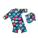 Baby Einteiler Bademode - Kleinkind Jungen Sommer Langarm Reißverschluss Rash Guard Badeanzug Sonnenschutz Neoprenanzug Kleidung mit Kappe 1-6 Jahr
