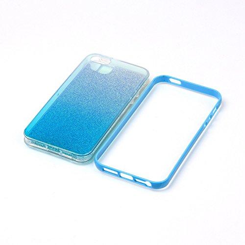 SMART LEGEND iPhone SE/5S/5 Weiche Silikon Rückseite Hülle Backcover & Hart Bumper Schutzhülle Bling Glitzer Blau Handyhülle Crystal Kirstall mit Abnehmbaren Glänzend Papier Clear Etui Ultra Slim Desi Blau
