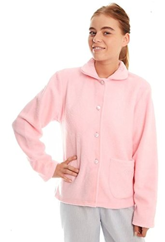Ladies Fleece Bed jacket with Floral Pattern on Collar and single front pocket Pink, Blue, Aqua sizes 10-12, 14-16, 18-20, 22-24 - 41ov5c1bTmL - Ladies Fleece Bed jacket with Floral Pattern on Collar and single front pocket Pink, Blue, Aqua sizes 10-12, 14-16, 18-20, 22-24
