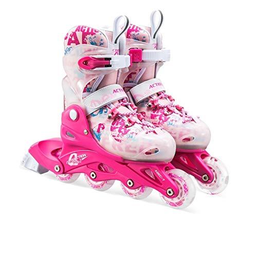 TKWhbx TKW Verstellbare Inline-Skates, Fun Flashing Professional-Einsteigerskates Für Jungen Und Mädchen, Robuste Jugend-Rollschuhe, Blau, Rosa (Color : Pink, Size : XS (EU 26-29))