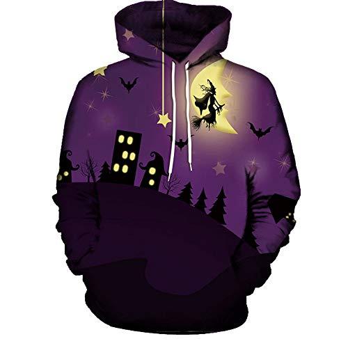 Rosennie Herren 3D Print Halloween Paare Hoodies Top Bluse Shirts Mode Langarm Geburtstag Hoodie Sweatshirt mit Tasche Fashion Männer...
