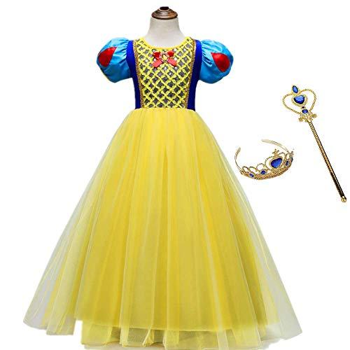 Disney Alte Kostüm Charaktere - Gogh Belle Prinzessin Rock Halloween mädchen Party Cosplay mit Prinzessin Krone und zauberstab Disney Prinzessin Rock geeignet für 3-8 Jahre mädchen,120CM