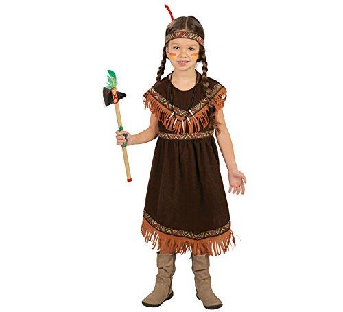 Guirca Indiana Pellerossa Kostüm für Mädchen, Farbe Braun, 5-6 Jahre (110-115 cm), 82720 (Redskins Kostüm)
