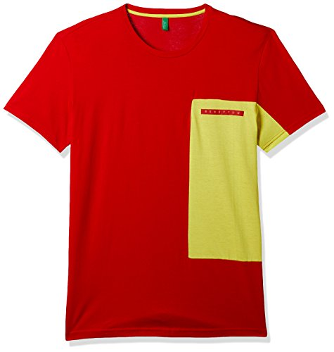 United Colors of Benetton Men's Solid Regular Fit T-Shirt (17A3096J1019I901S_red_S)