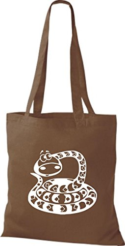 Shirtstown Stoffbeutel Tiere Schlange Snake Mittelbraun