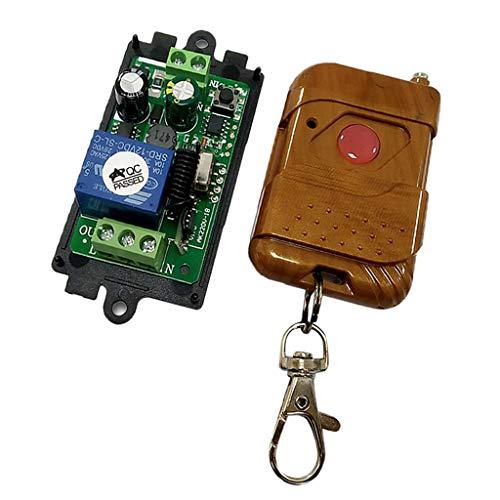 F Fityle Fernbedienung Schalter Relaisschalter Funkschalter mit Empfänger Modul für Garagentor Licht Vorhang Tür und Verschiedene Motorsysteme Steuern - Mahagoni -