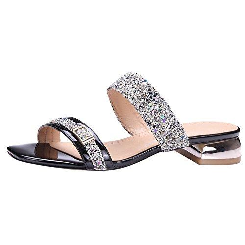 Sandalias Negras De Lujo Misssasa Para Mujer Con Tacón