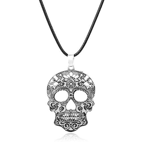 DADATU Halsketten für Herren Klassische Mexikanische Zucker Schädel Halskette Tag Der Toten Skelett Anhänger Halskette Herren Charme Schmuck Geschenke (Zucker Skelett Kostüm)