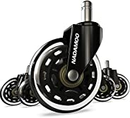 NADAMOO Office Chair Caster Wheels Replacement (Set of 5), Roller Blade Style with 11mm Standard Stem Size, He