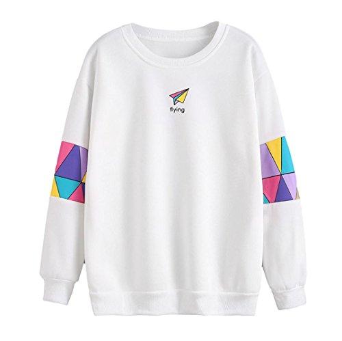 Sweatshirt Damen Sunday Langarm Sport Baumwolle Brief Drucken T-Shirt Bunt Bluse (L, Weiß)