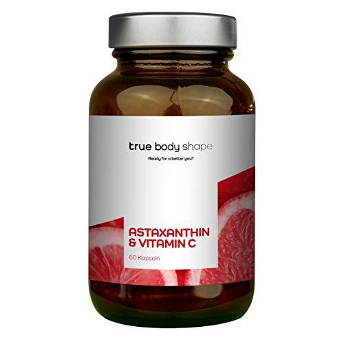True Body Shape Astaxanthin und Vitamin C - 60 Kapseln im hochwertigen Braunglas ohne Weichmacher. Vegan, Laborgeprüft, Hergestellt in Deutschland