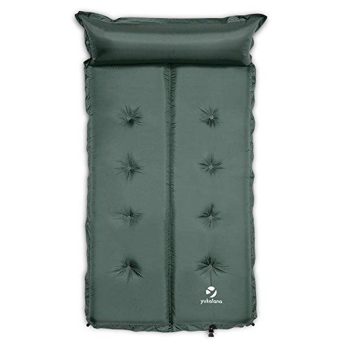 Yukatana Goodsleep 10 Doppel-Luftmatratze Isomatte Luftbett selbstaufblasend mit Kopfkissen Comfort für Camping oder Trekking (193 x 102cm, 10cm dick, selbstaufblasend, kleines Packmaß) Grün