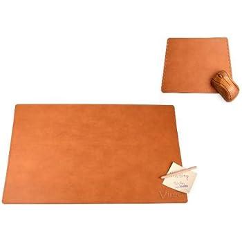 set de bureau sous main 60 x 40 cm et tapis de souris brun en cuir recycl. Black Bedroom Furniture Sets. Home Design Ideas