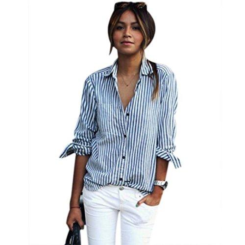 Jaminy Frauen Regel Gestreiften Langen Ärmel Lose Bluse Casual T-Shirt Tops Dreh Kragen Gedruckt (XL) (Of Fruit Loom-mädchen The Unterwäsche)