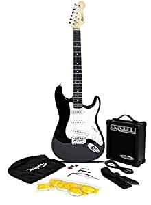 Rockburn ST Style Electric Guitar Pack with Amp, Gig Bag, Strings, Strap, Lead and Plecs - Black