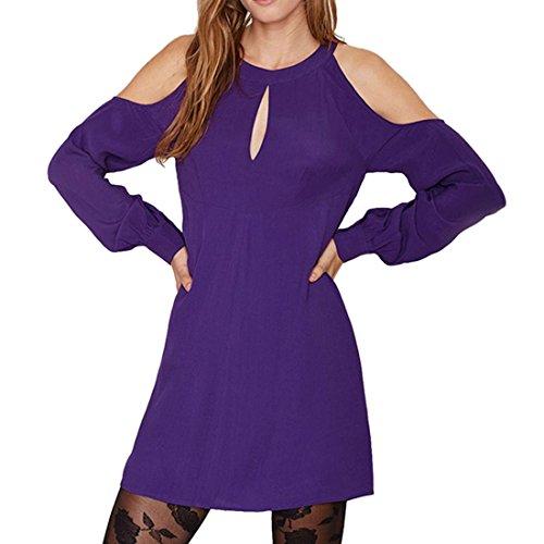 QIYUN.Z Les Femmes En Mousseline De Soie Couleur Unie Mini Robe Offshoulder Manches Longues Creux De Lanterne Violet
