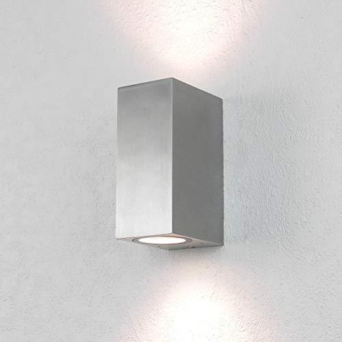 Moderne Wandleuchte in silber 2x GU10 230V Wandlampe aus Aluminiumdruckguss für Garten/Terrasse Garten Weg Terrasse Lampe Leuchten Beleuchtung außen