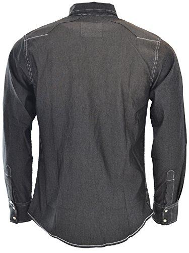 Attire Herren Jeans Hemd Freizeit Denim Langarm Black Denim Grey Jeanshemd Shirt Regular Fit Black Denim