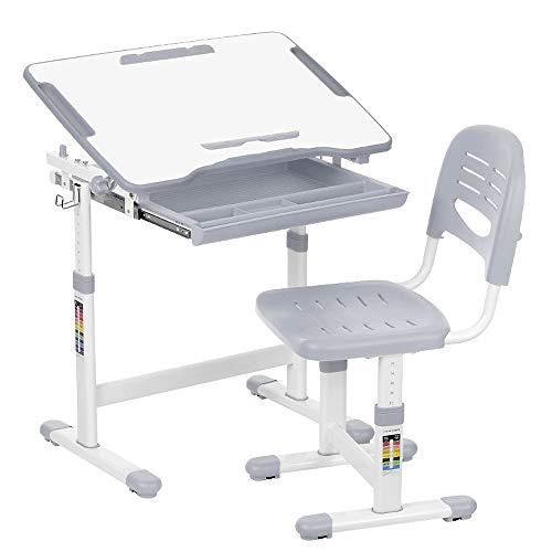Juego de escritorio para niños con inclinación y silla con sujetarrollos de papel y portavasos, de Ikayaa, gris