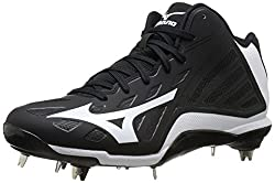 Mizuno Mens Heist IQ Mid Baseball Cleat Black / White 11.5 D(M) US