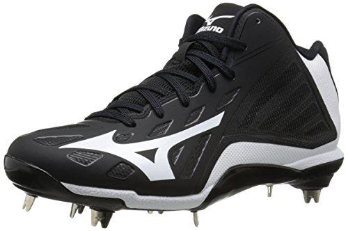 Mizuno Heist IQ Mid Baseball Spikes - Black/White (US 10.5)