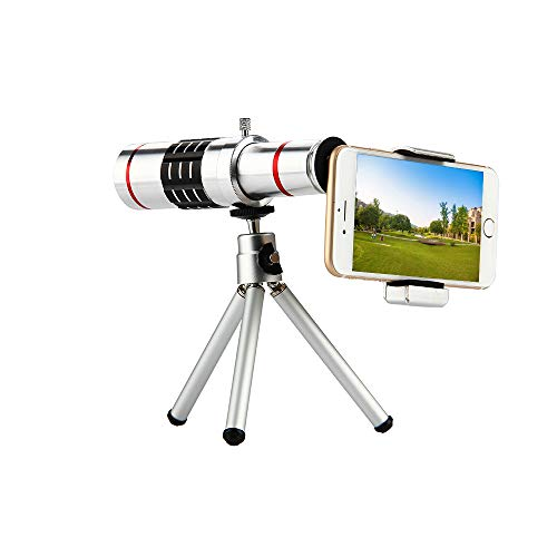SJSXTLLL 18x Zoom Optical Telescope Telephoto Lens with Tripod Clip Kit Universal Phone Camera Lens for iPhone for Samsung Mobile Phone Universal Tripod Kit