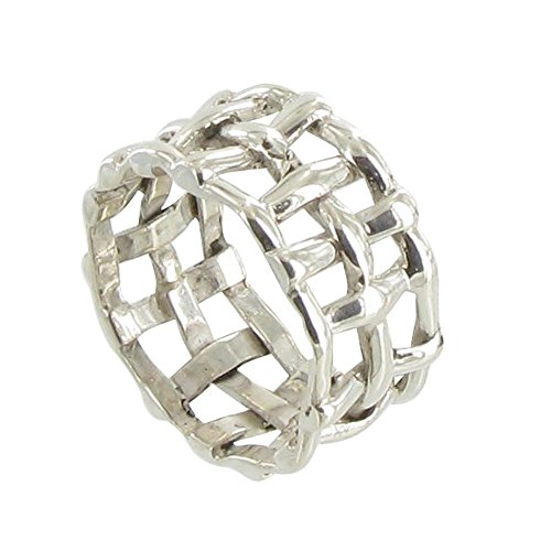 Les Poulettes Jewels - Silver Checkered Ring